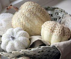 doily covered crochet pumpkins