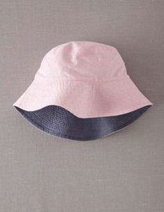 d2b86b9c MINI BODEN Chambray Reversible Sun Hat Pink Shrimp White Polka Dot Pinspot  7-10Y #