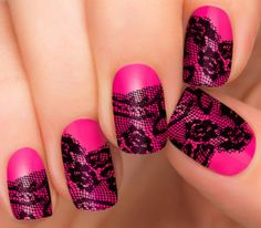 Fashion Fusion Nail Strips by Incoco | Pink Neon Lace Nail Design - Incoco