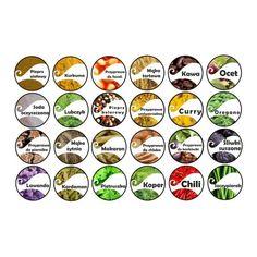 Etykiety przypraw - Hledat Googlem Spice Jar Labels, Spice Jars, Mini Foods, Curry, Spices, Barbie, Logos, Create, Tags