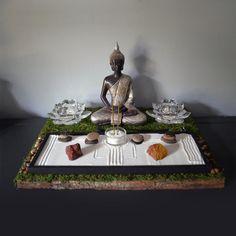 Meditating Buddha Statue // Buddhist Altar // Table Shrine // Mini Zen Garden // Lotus Candle Holder // Incense Holder // Yoga // DIY Kit