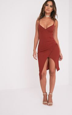 Lauriell Tobacco Wrap Front Crepe Midi Dress Image 1