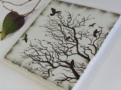 Botanical Wall Art, Tree Branch Nature Home Decor, Flying Birds Decorative Ceramic Tile, Winter Silhouette. $15.00, via Etsy.