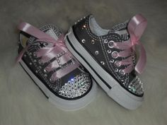 Baby infant toddler Converse Chuck Taylors Swarovski Crystals Bling SHOES ALLSTAR rhinestone Pageant princess PHOTO Prop girl gray pink on Etsy, $59.99