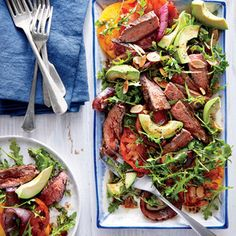 This salad is ideal for cold grilled steak, as reheating may overcook the meat or cause the basil and arugula to wilt. Grilling the red onion adds another layer of char and a bit of sweetness to counter the tartness of the vinaigrette.