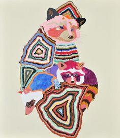 Kirra Jamison Australian Artist Melbourne Australia Art Illustration Painting Peachy Print Gallery Owl Color Colour Fantasy Folk Raccoon