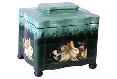 Hand-Painted Rabbit Box w/Lid