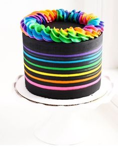 All Time Easy Cake : I love this Lisa Frank colors inspired rainbow black cake, Cute Cakes, Pretty Cakes, Beautiful Cakes, Amazing Cakes, Sweet Cakes, Neon Birthday Cakes, Rainbow Birthday, Bolo Neon, Neon Cakes