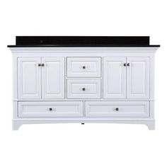 Home Decorators Collection Moorpark 61 in. Vanity in White with Granite Vanity Top in Black-MPWVT6122 - The Home Depot