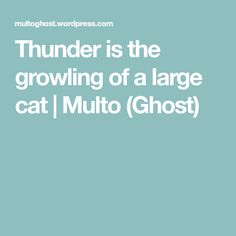 Thunder is the growling of a large cat | Multo (Ghost)