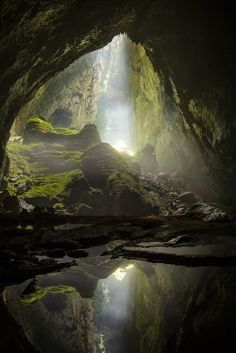 A sunbeam shines in through the first doline in Hang Son Doong, the world's largest cave.   ancientdelirium: (via 500px / Let There Be Light by Ryan Deboodt)