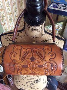 Vintage 1940s 1950s Handbag Purse Hand Tooled Brown Leather Barrel Shape Top Handle Bag by TimelessTreasuresVCB on Etsy