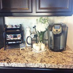 A beautiful Keurig 2.0 coffee corner by Instagram user peachesandpaisleys. Happy Brewing!