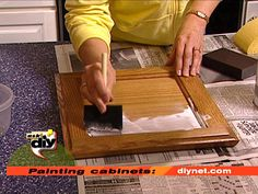 painting cabinets (tips from diynet) : clean with denatured alcohol to remove grease/dirt, and use a primer to eliminate a lot of the sanding prep