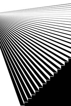Abstract Black and White Geometric Pattern with Staircase. Striped Structural Texture of Stairs Perspective