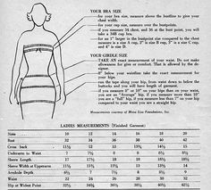 1950s sizing chart.  BIG dif from how we size clothes today!