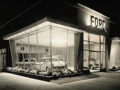 Facade of a car showroom, Ford Automobile Showroom, 1950 - Masterfile - Rights-Managed, Artist: SuperStock, Code: Used Car Lots, Automobile, Vintage Trucks, Vintage Auto, Vintage Signs, Old Gas Stations, Retro Cars, Architecture, Old Cars