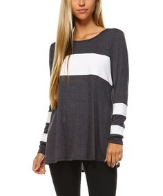 Take a look at this TEN 6 TEN Charcoal & White Constrast-Stripe Top today!
