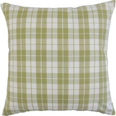 Lend a touch of pattern to your sofa or loveseat with this classic pillow, showcasing a plaid motif in sage and white.  Product: