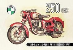 30 x 20 Stretched Canvas Poster Puch 250 SGS with Cutaway View Motorcycle Posters, Motorcycle Art, Classic Motorcycle, Steyr, Retro Poster, Vintage Posters, Scooters, Ink In Water, Vintage Motorcycles
