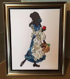 Disney Inspired Belle In blue Silhouette Button Art In Frame. Disney Home Decor, Disney Diy, Disney Crafts, Disney Button Art, Disney Buttons, Fun Crafts, Diy And Crafts, Crafts For Kids, Arts And Crafts