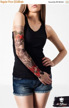 Discover our mysterious SKULL & FLOWERS TEMPORARY TATTOO SLEEVE! Create trendy and intriguing looks that will attract & hypnotize everyone around you or have fun by surprising your family or friends with your new tattoo. :)  THE SLEEVE is made of pleasantly smooth mesh material which is delicate in touch but also very solid and durable in using. Its also highly elastic and feels perfectly - like a second skin! The material has a skin toned color so the high quality prints made on it create…