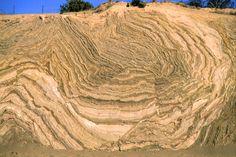 CA. Recumbent fold along the San Andreas Fault, Hwy 14, near Palmdale. photo: Doug Sherman