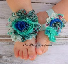Peacock+Aqua+Baby+Barefoot+Sandals++by+TheBloomingLilac2013,+$6.50