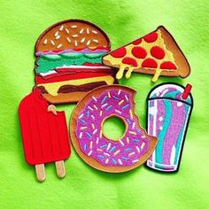 Patches from @radpatchco. Available in her store now. Link to store on her bio. Design @daggersforteeth. . #radpatchco #daggersforteeth #fastfood #burger # food #munchies #junkfood #embroideredpatches # #patch #pizza #pizzalover #iceblock #patches...