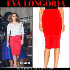 Eva Longoria in bright red pencil skirt and striped shirt Type-A set March 2017