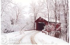 Winter barn and road.