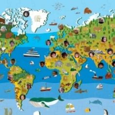 Children of the World Puzzle: Discover continents, plants, animals and children from around the world. World Puzzle, Child Face, Continents, Geography, Around The Worlds, Education, Learning, Children, Projects