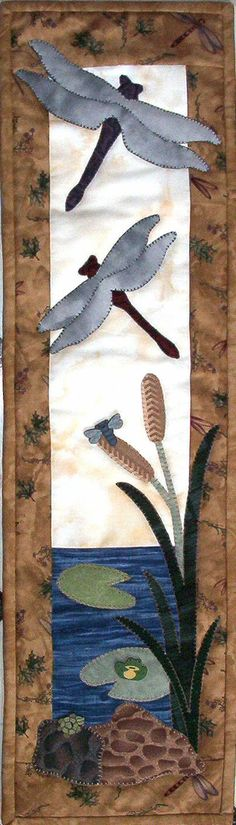 """Dragonflies and Pond Critters make a buzz on your wall.  6""""x22"""" size, easy applique mini quilt pattern  available at www.patchabilities.com P60 Pond Critters"""