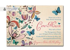 Butterflies Baby Shower Invitation Rustic Antique Colorful Floral & Blue Butterflies Vintage Script DIY Printable or Printed - Cara Style on Etsy, $20.00