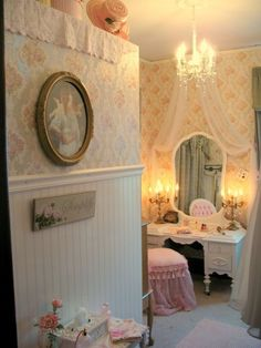 Love How Soft This Looks For A Little Girls Roomrecover Chairpossibly Have Fabric Flowing Over Vanity