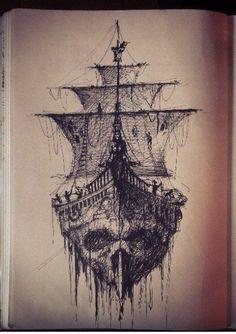 ship skull more pirate tattoo idea pirate ship drawing men s tattoo . Tattoo On, Tattoo Drawings, Body Art Tattoos, Tatoos, Tattoo Ship, Tattoo Flash, Death Tattoo, Tattoo Pics, Sketch Tattoo