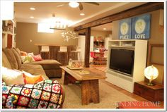 """""""Finding Home"""" DIY Basement. This is such a cute and homey space."""