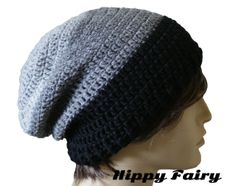 Black and Grey BeanieMens stripe beanie slouch hat by HippyFairy 3b6604f855ac