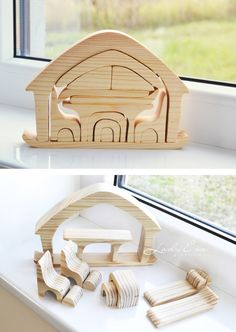 Educational toys, wooden toys, natural wood blocks, Puzzle Toy, Wooden Puzzle House, Balancing Toy, playing furniture,