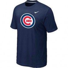 Wholesale Men Chicago Cubs Heathered Blended Short Sleeve Dark Blue T-Shirt_Chicago Cubs T-Shirt
