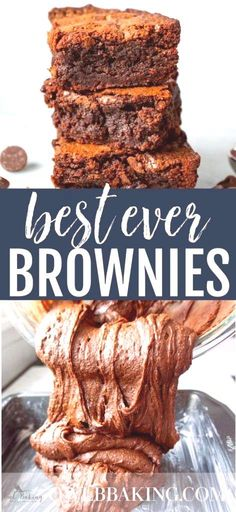 These are the Best Ever Brownies! They are thick fudgy and chewy. This easy brownie recipe is the best homemade version out there; you'll never go back to the box mix again! Chewy Brownies, Homemade Brownies, Best Dessert Recipes, Easy Desserts, Fun Recipes, Sweet Desserts, Recipies, Dinner Recipes, Best Ever Brownies