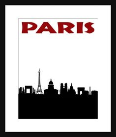 Paris Skyline Print Poster