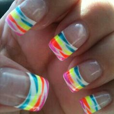 White French manicure tips with bright neon tiger stripes, easy free hand nail art