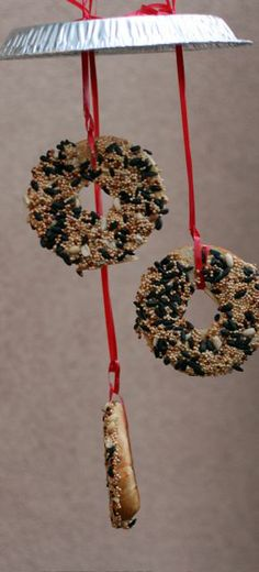 Bird feed wreaths mobile.Love it.