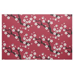 Skull Cherry Blossoms Fabric