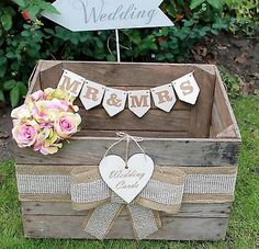 Vintage Wooden Wedding Cards Crate Post Box Rustic Shabby Chic Original Mr & Mrs in Home, Furniture & DIY, Wedding Supplies, Card Boxes   eBay