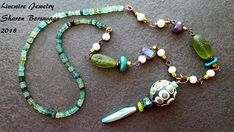 Modern Tribal Lampwork Glass Necklace Long Green and Blue