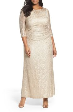 Main Image - Alex Evening Embellished Lace Column Gown (Plus Size)