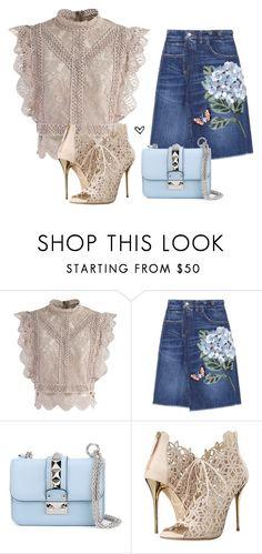 """Bez naslova #4036"" by lillyrosalie on Polyvore featuring moda, Chicwish, Dolce&Gabbana, Valentino i Oscar de la Renta"