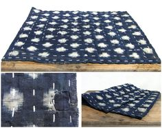 Zokin is a Japanese hand made cloth used for cleaning, usually the wooden floor. It is a layered textile bound with hand stitched sashiko. These ones are made from high quality indigo dyed ikat / k...